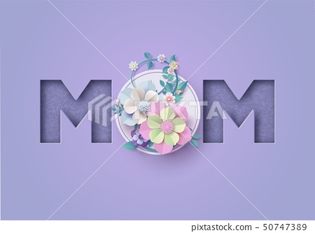Happy Mother's day greeting card Paper cut 50747389