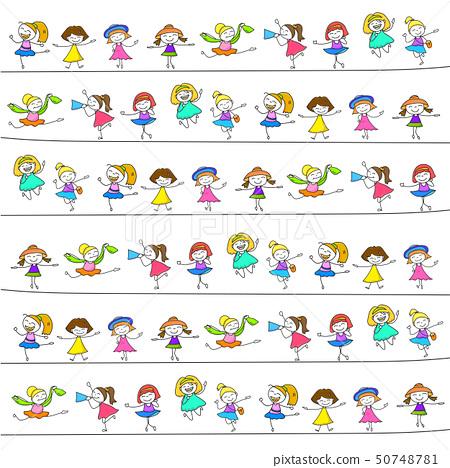 hand drawing happy kids 50748781