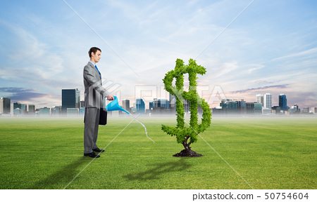 Entrepreneur watering green plant of dollar 50754604