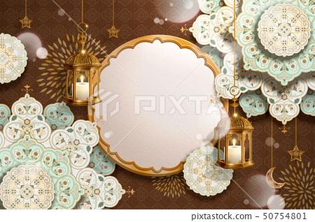 Arabesque flowers and fanoos 50754801