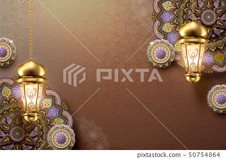 Elegant arabesque flower 50754864