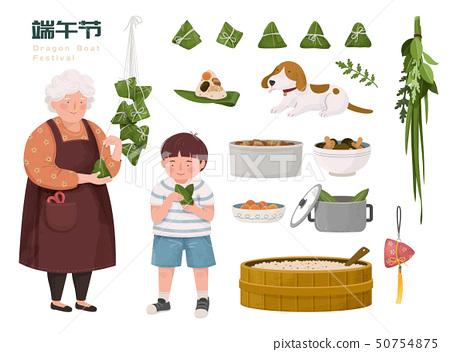 Family making rice dumplings 50754875