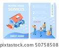 Set Moving House Services Sweet Home Flat Cartoon. 50758508