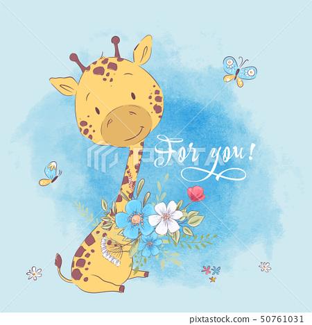 Poster cute giraffe flowers and butterflies. Hand drawing. Vector illustration cartoon style 50761031