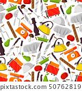 Seamless pattern with cook supplies and food, 50762819