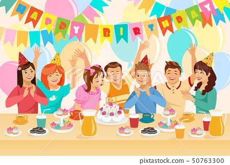 Group of Children Celebrating Happy Birthday. 50763300