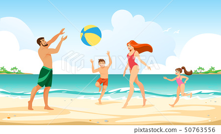Happy Family Summer Vacation Leisure Time at Sea 50763556