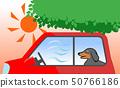 中暑测量在车下的狗回答在树荫下 50766186