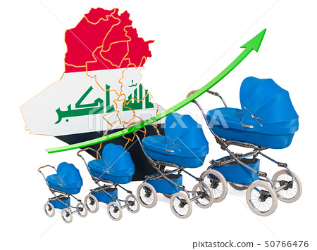 Growing birth rate in Iraq, concept. 3D rendering 50766476