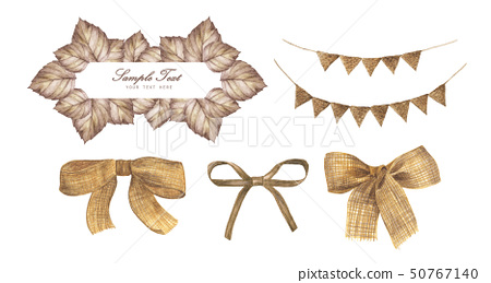 Autumn Frame, bunting pastel flags and burlap bow  50767140