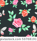 Roses and Butterfly Seamless Pattern Hand drawn 50768191