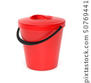 Red plastic bucket with closed lid. 3d rendering illustration isolated 50769441