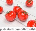 Tomatoes. Wet ripe red vegetables on wooden background. 3d rendering illustration 50769466