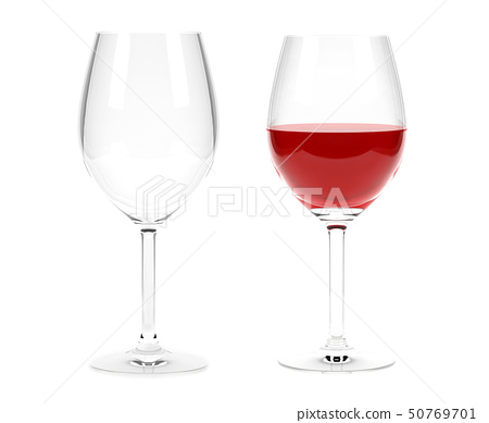 Glass of red wine and empty glass. 3d rendering illustration isolated 50769701