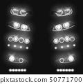 Automobile glowing headlights realistic vector set 50771700