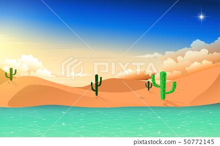 landscape of pond in desert in sunset 50772145