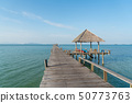 Wooden pier with boat in Phuket, Thailand. Summer, 50773763