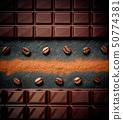 Black chocolate bar, coffee beans, cocoa powder on 50774381