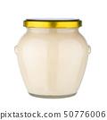 Glass honey jar isolated on white background. 50776006