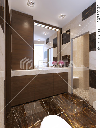 Contemporary bath with glass shower 50776136