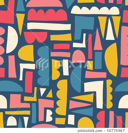 Abstract shapes seamless vector pattern paper cut out collage style 50776967