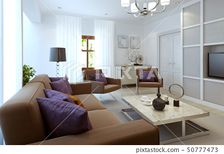 Bright living room modern style 50777473