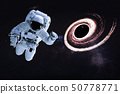 Astronaut in the space near giant black hole 50778771