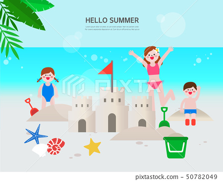 沙堡沙子戲劇兒童海灘旅行流行音樂橫幅例證 50782049