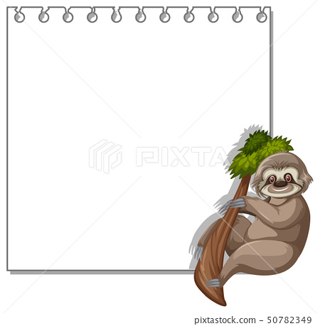Sloth on note template 50782349