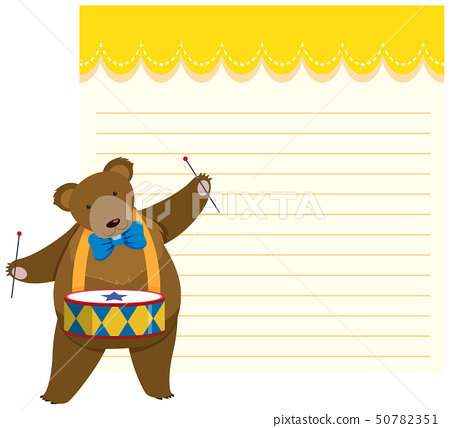 Circus bear on note template 50782351