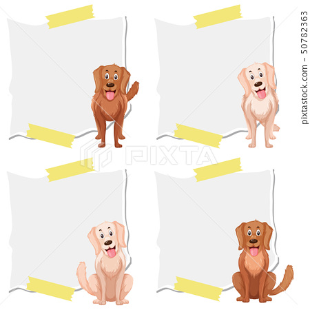 Set of dog on note template 50782363