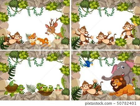 Set of wild animals nature frame 50782401