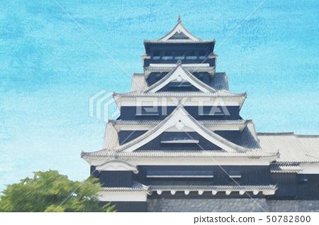 Kumamoto Castle Watercolor style 50782800