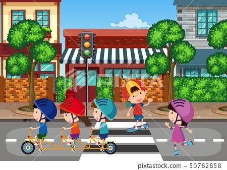 Kids playing at urban town 50782858