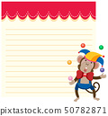 A circus monkey on note template 50782871