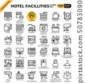 Hotel facillities concept icons set 50783090