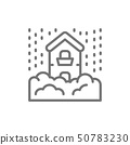 Snowfall, snow, natural disaster, catastrophe line icon. 50783230