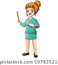 Beautiful teacher Holding Pointer and a book 50783521
