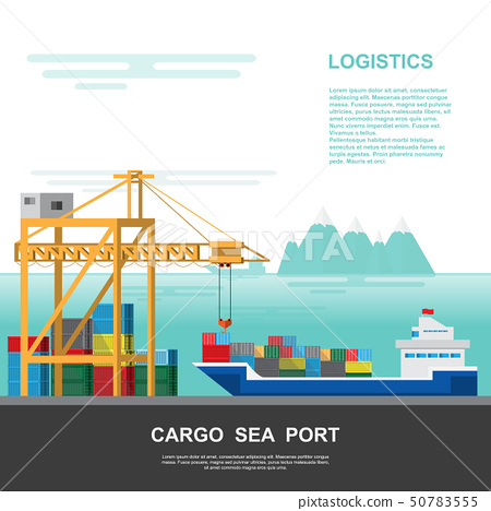 Warehouse and shipping port logistic on a flat 50783555