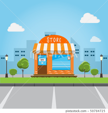 store front building with big city background. 50784725