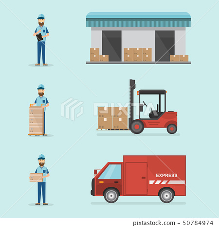 warehouse and logistic flat design. Delivery and 50784974