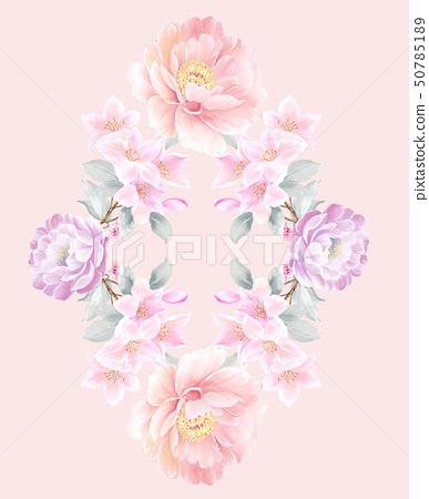 美麗的水彩玫瑰花和牡丹花 50785189