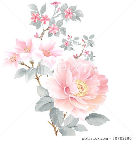 美麗的水彩玫瑰花和牡丹花 50785190