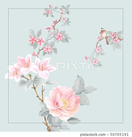 美麗的水彩玫瑰花和牡丹花 50785191