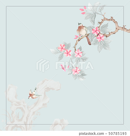 美麗的水彩玫瑰花和牡丹花 50785193