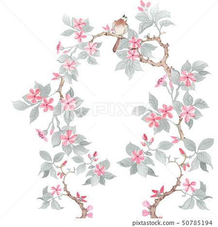 美麗的水彩玫瑰花和牡丹花 50785194