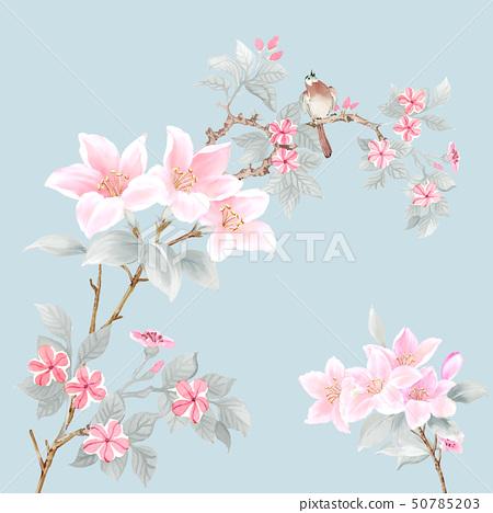 美麗的水彩玫瑰花和牡丹花 50785203