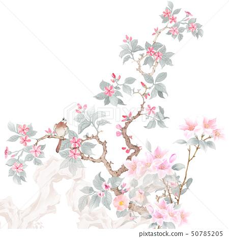 美麗的水彩玫瑰花和牡丹花 50785205