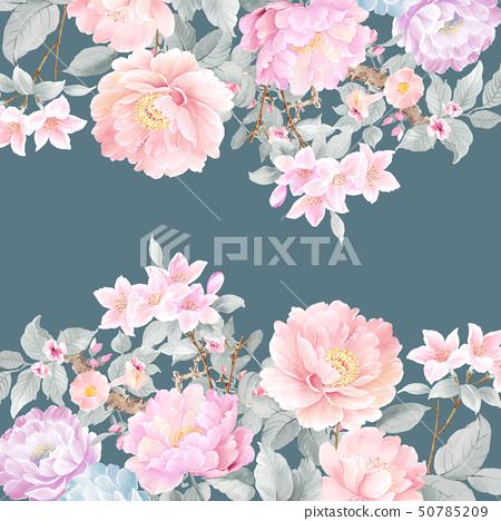 美麗的水彩玫瑰花和牡丹花 50785209