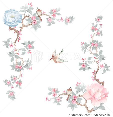 美麗的水彩玫瑰花和牡丹花 50785210